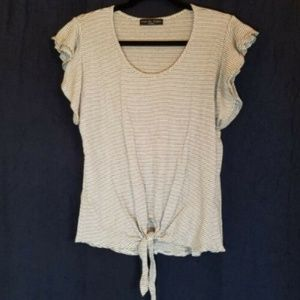 Top Size M Striped Ivory & Black